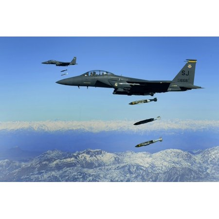 November 26 2009 - US Air Force F-15E Strike Eagle aircraft drops 2000-pound joint direct attack munitions on a cave in eastern Afghanistan Poster Print