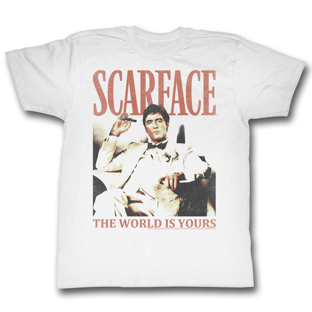 Scarface Men's  Da World T-shirt White