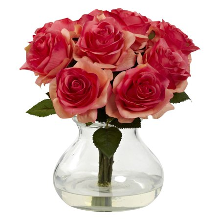Nearly Natural Roses Silk Flower ()