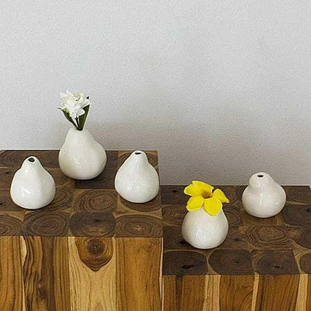 Haussmann Set of 5 Ceramic White Pear-shaped Vases  , Handmade in Thailand