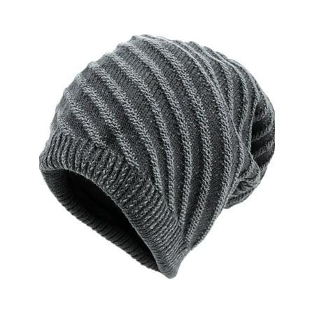 Unique Bargains Men Chic Textured Stripes Pattern Knitted Beanie Hat Dark Gray