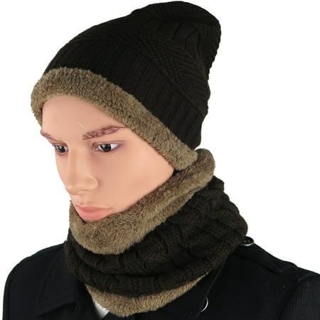 de41f8c5d90 Debra Weitzner Mens Slouchy beanie knit winter hat neck warmer scarf set  Brown