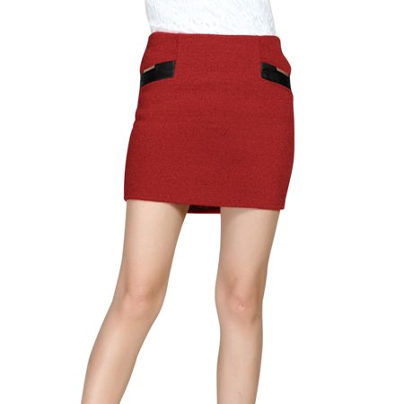 Imitation Leather Panel Fake Pockets Worsted Skirt for Women Warm Red XS