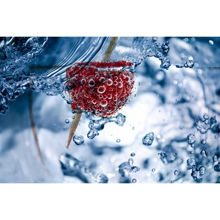 Pressed Glass Toothpick (LAMINATED POSTER Water Raspberry Liquid Toothpick Air Bubbles Glass Poster 24x16 Adhesive)