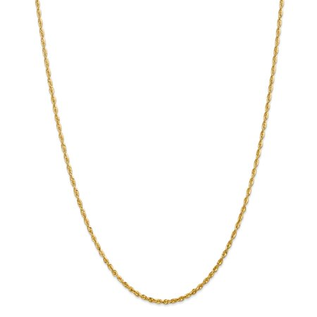 14K Yellow Gold 2.15mm Diamond-Cut Extra-Light Rope Chain Necklace, 20""