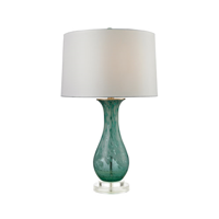 Table Lamps 1 Light With Aqua Swirl Glass and Acrylic Medium Base 27 inch 150 Watts