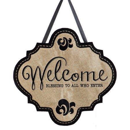 August Grove Welcome Burlap Door Decoration](Office Door Decoration)