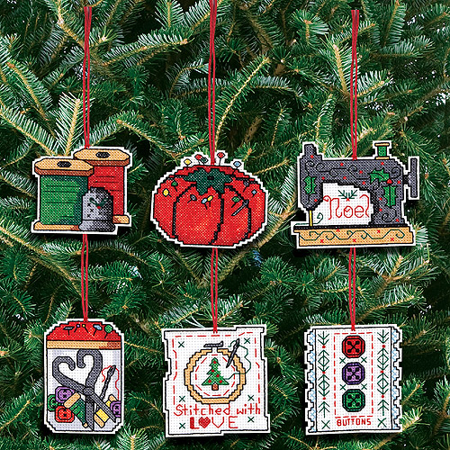 "Sewing Ornaments Counted Cross Stitch Kit, 3"" x 3"", 14-count Set Of 6"