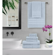 100% Cotton 6-Piece Towel Set - 2 Bath Towels, 2 Hand Towels, and 2 Washcloths - Super Soft, High Quality, High-Absorbent, and Fade-Resistant - 650 GSM - Made in India (Sky Blue)