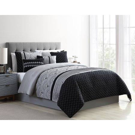Better Homes & Gardens Art Deco Metallic 7-Piece Comforter Set, King, Black
