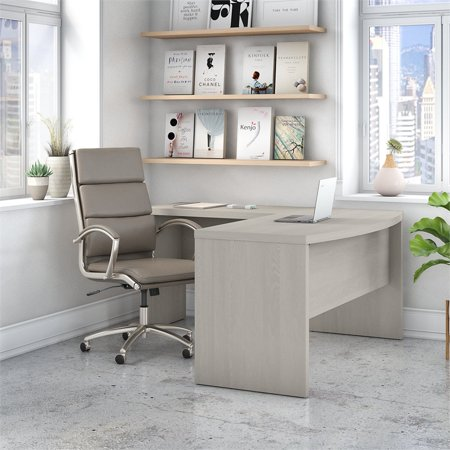 Office by kathy ireland Echo L Shaped Bow Front Desk in Gray Sand - image 5 of 6