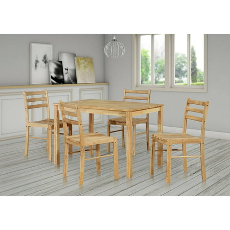 Ida 5 Piece Kitchen Dinette Dining Set, Natural Wood, 43