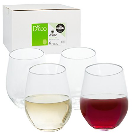 Unbreakable Wine Glasses - 100% Tritan - Shatterproof, Reusable, Dishwasher Safe (Set of 4 Stemless) by D