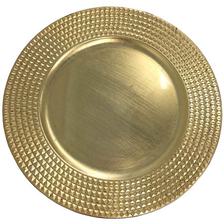Elegant Gold Round Charger Stud Rim Round Charger Plates Dinnerware Holiday Decor Accent Plates Gold Finish 13 inch - Set of 2