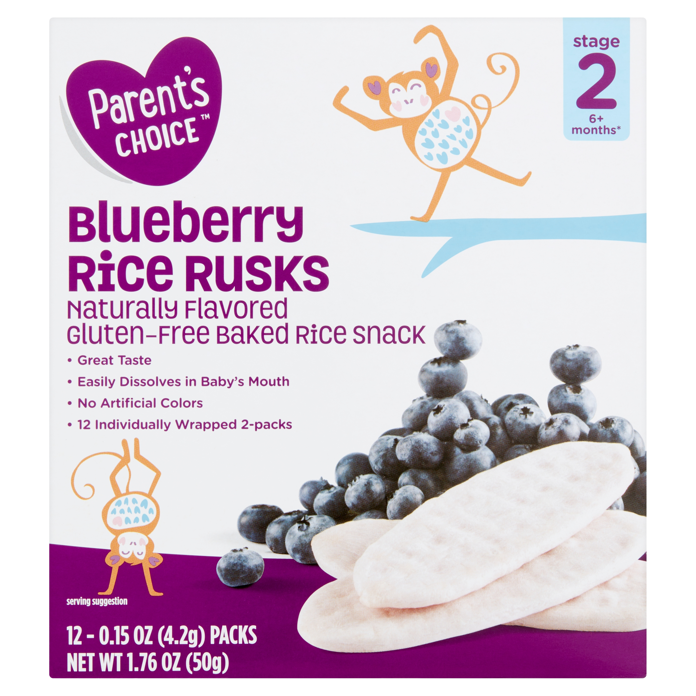 Parent's Choice Rice Rusks, Blueberry, Stage 2, 1.76 oz