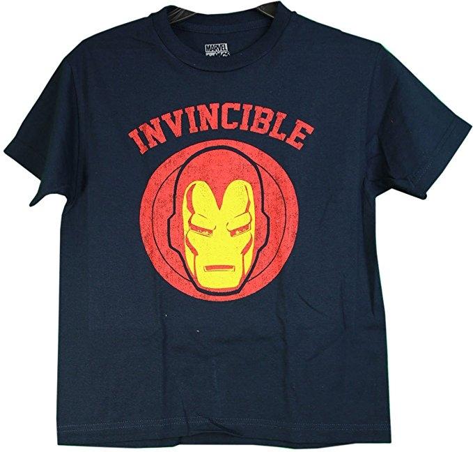 Man Engine Invincible Iron Man Boys T-Shirt (Large)