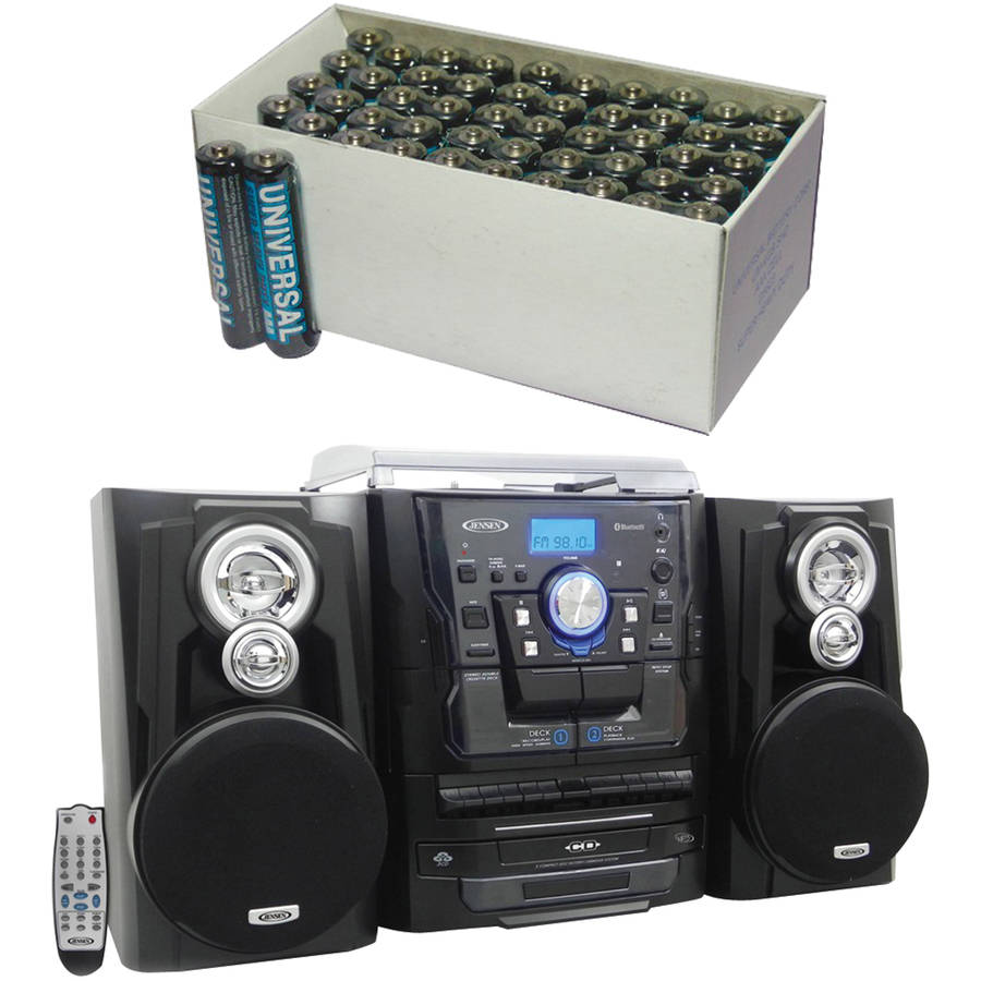 Jensen JMC-1250 Bluetooth 3-Speed Stereo Turntable Music System, Includes 50 AAA Batteries