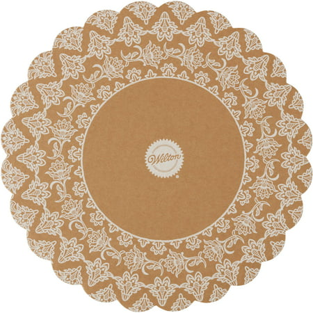 Wilton Scalloped Kraft Paper Round Cake Board, 10 - Round Cake Boards