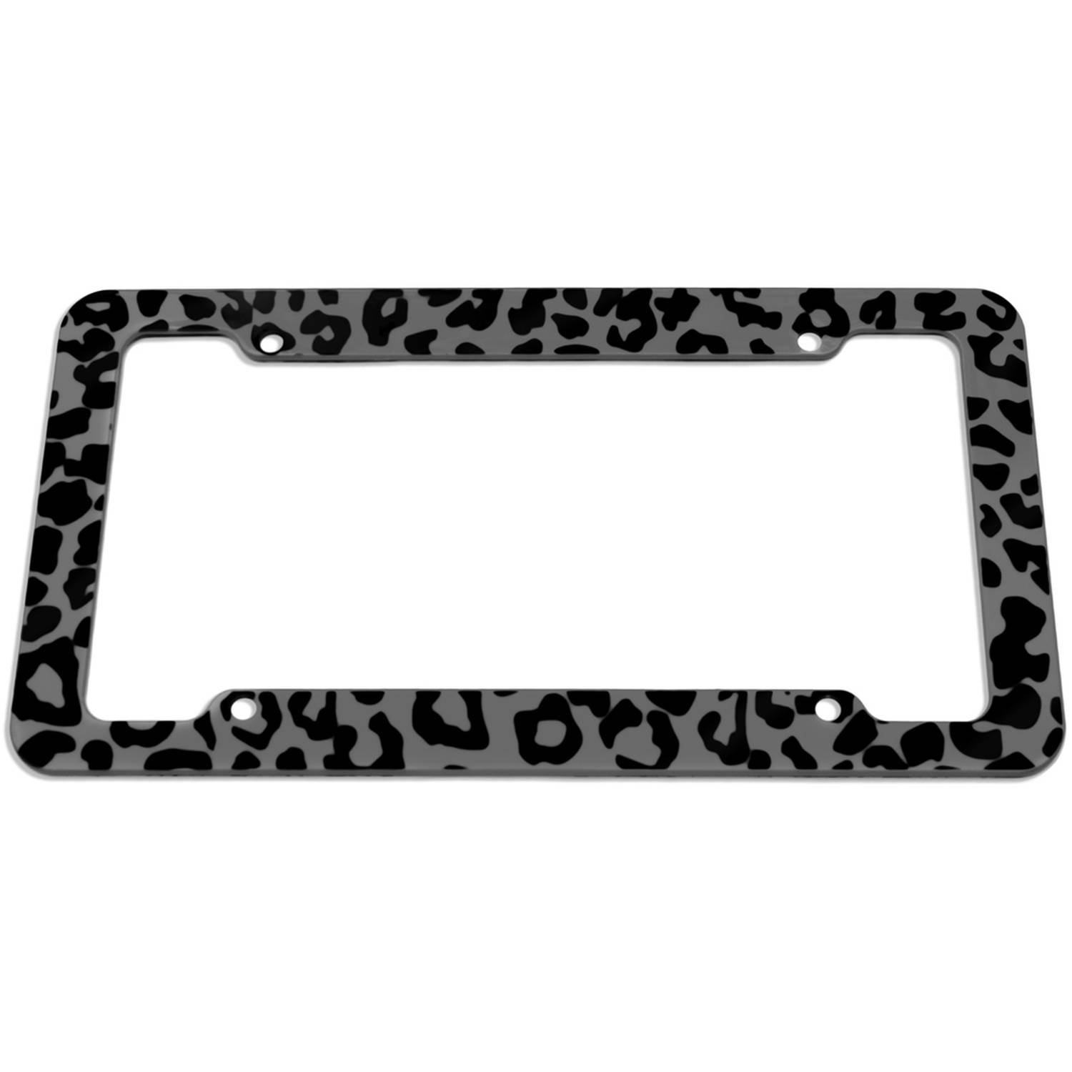 OxGord 1-Piece Plastic License Plate Frame with Leopard Animal Print
