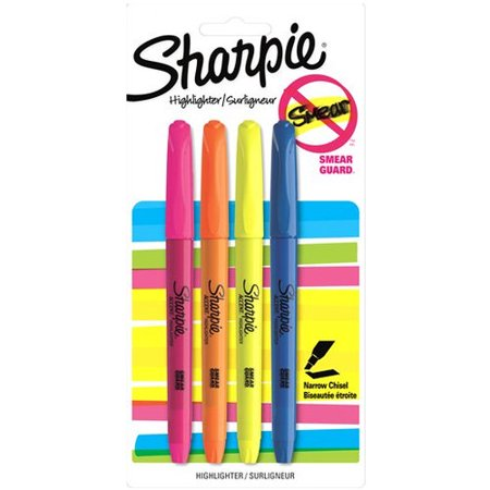 (2 Pack) Sharpie Pocket Style Highlighters, Chisel Tip, Assorted, 4