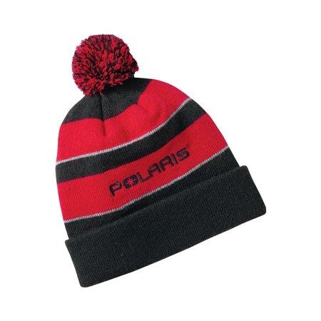 OEM Polaris Youth Branded Cuff Fold Up Warm Snowmobile Winter Pom Pom Beanie  Hat - Red   Black - OSFM - Walmart.com 41323906660