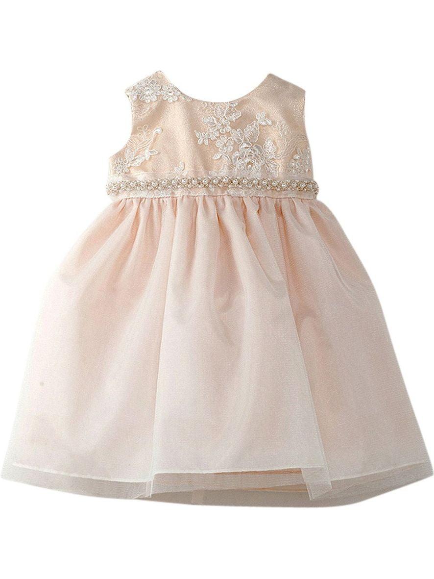 Crayon Kids Baby Girls Ivory Embroidered Glitter Flower Girl Dress