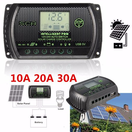 30a Digital Charge Controller - M.way 10A/20A/30A 12/24V PWM Solar Panel Charge Controller Intelligent Battery Regulator Auto LCD Display with USB Port Over-charging Protect Safe