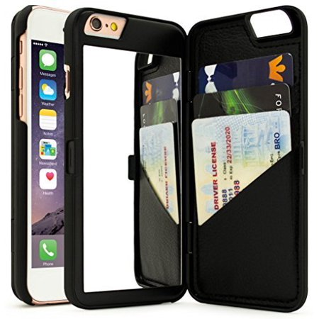 iPhone 7 Case, Bastex Black Hidden Back Mirror Wallet Case with Stand Feature and Card Holder for Apple iPhone 7