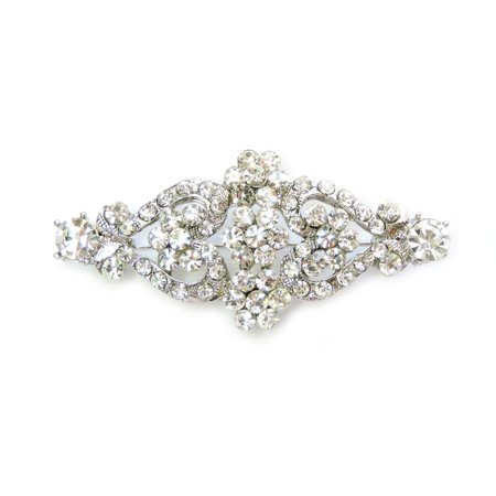 Faship Clear Crystal Floral Pin Brooch
