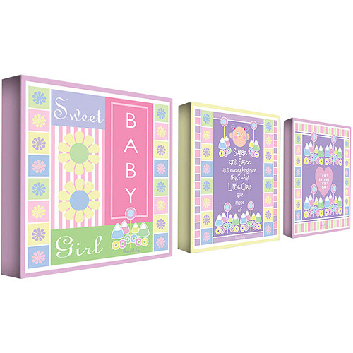 "Trademark Art ""Sweet Baby Girl"" Canvas Art by Grace Riley 3-Panel Set"