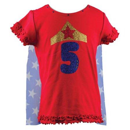 Reflectionz Baby Girls Red Wonder Girl Star Birthday Cape T Shirt 12