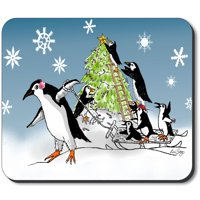 Art Plates Mouse Pad - Penguin Christmas Tree