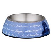 Loving Pets Milano Collection Bowl, World Traveler Blue Linen, 1.0 CT
