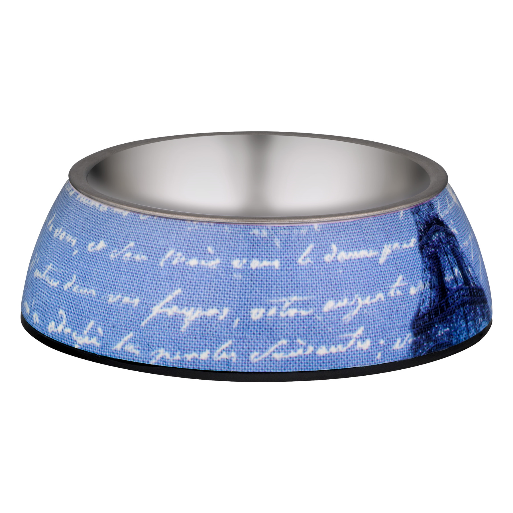 Loving Pets Milano Collection Bowl, World Traveler Blue Linen, 1.0 CT