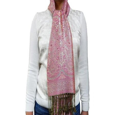 Art Fashions of Europe B6-14 Women Silk Blend Shiny Pashmina Scarf - Pink