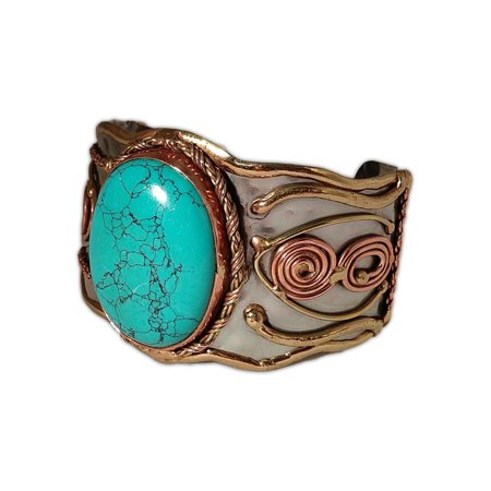 Welded Mixed Metal Cuff Bracelet with Large TURQUOISE Stone ()