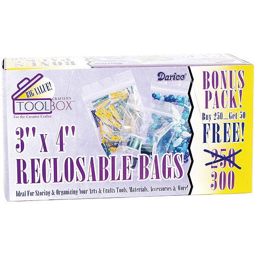 "Reclosable Plastic Bags 300/pkg, 3"" x 4"""