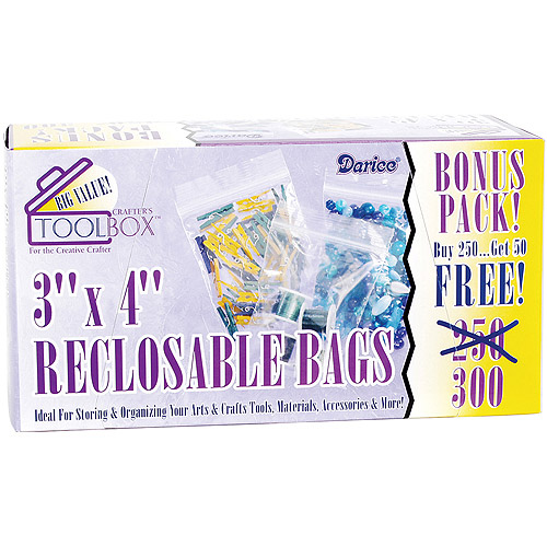 "Reclosable Plastic Bags 300/pkg, 3"" x 4"""