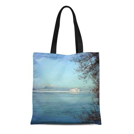 SIDONKU Canvas Tote Bag Oregon on Bare Island Klamath Falls Lake Scenery Reusable Handbag Shoulder Grocery Shopping