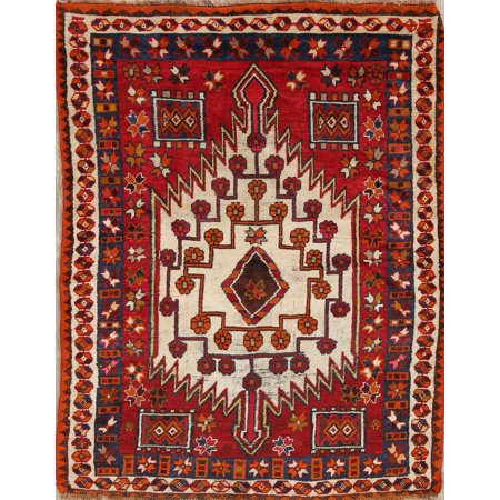 Rugsource Antique Geometric Caucasian Russian Oriental Hand-Knotted 4x5 Area (Russian Antique)
