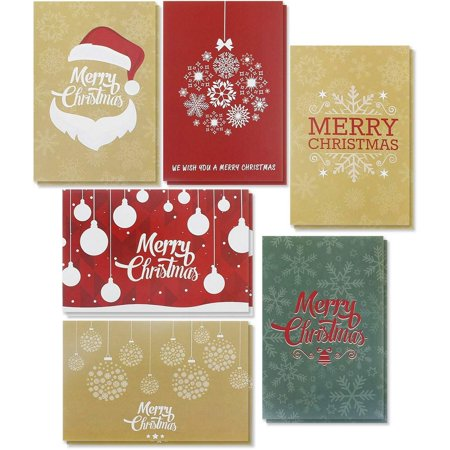 36-Pack Merry Christmas Greeting Cards Bulk Box Set - Winter Holiday Xmas Greeting Cards with Flat Illustrations, Envelopes Included, 4 x 6 Inches