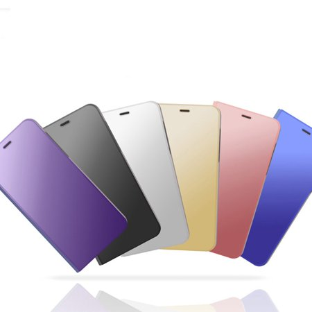 Newest Electroplated Smart Mirror Stand Case Mobile Phone Shell purple - image 3 de 6