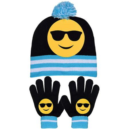 SWAK Girls Emoji Smiley Face Bold Striped Knit Pom Pom Beanie & Gloves in Fun - Pom Pom Girl Dress Up