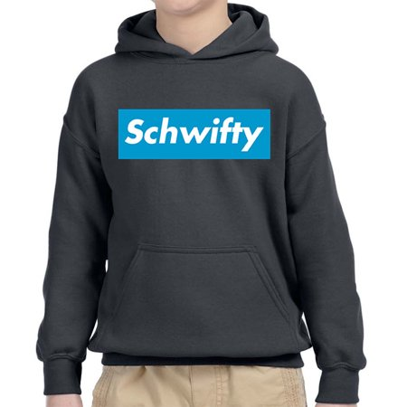 New Way 858 - Youth Hoodie Schwifty Supreme Rick Morty Parody Logo Unisex Pullover Sweatshirt XL (Supreme Grey On Grey Box Logo Hoodie)