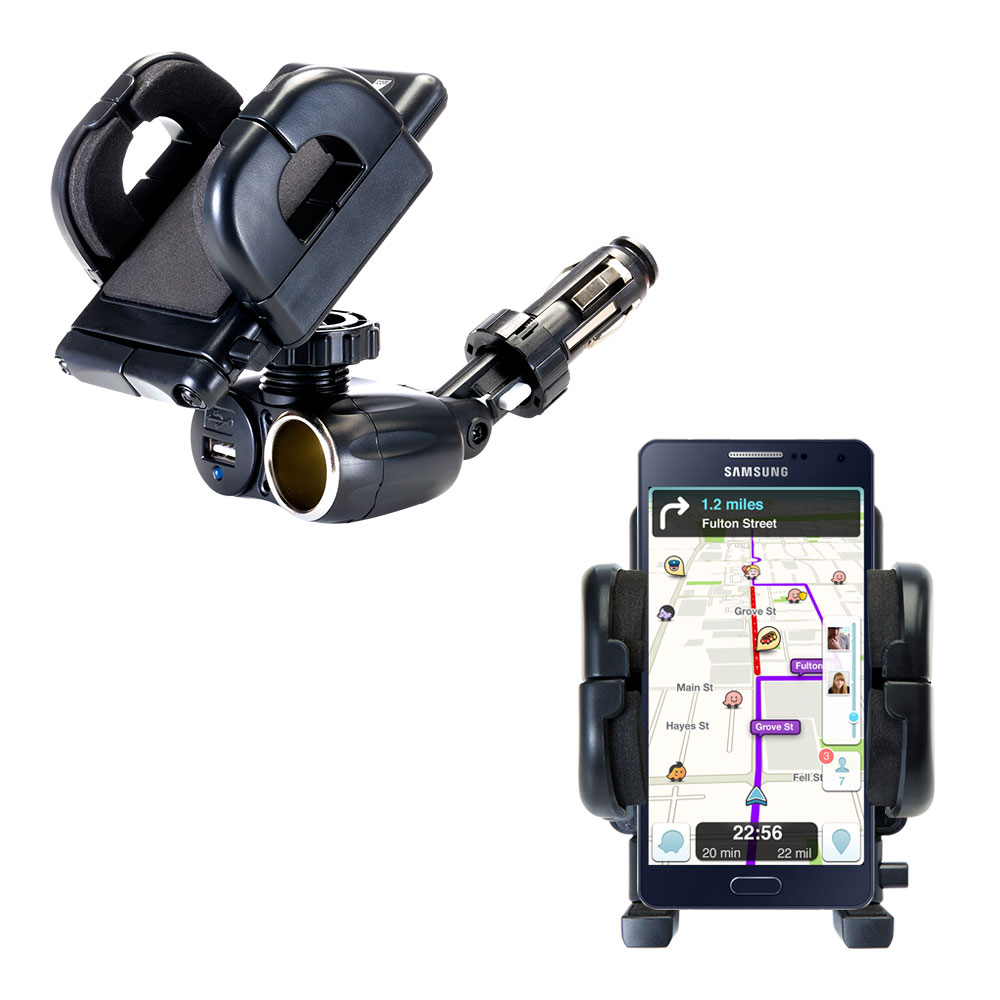 Dual USB / 12V Charger Car Cigarette Lighter Mount and Holder for the Samsung Galaxy A5