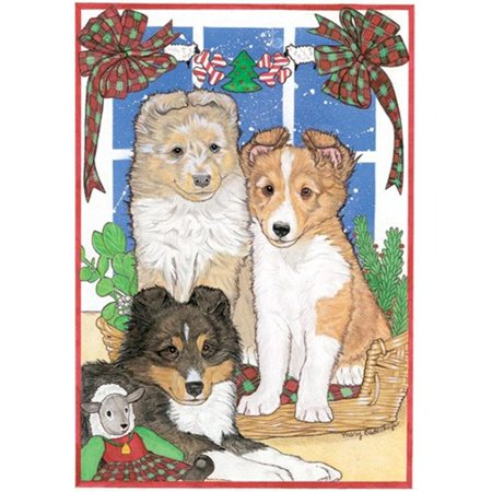 Pipsqueak Productions C930 Sheltie Pups Christmas Boxed Cards - Pack of 10 Sheltie Christmas Cards