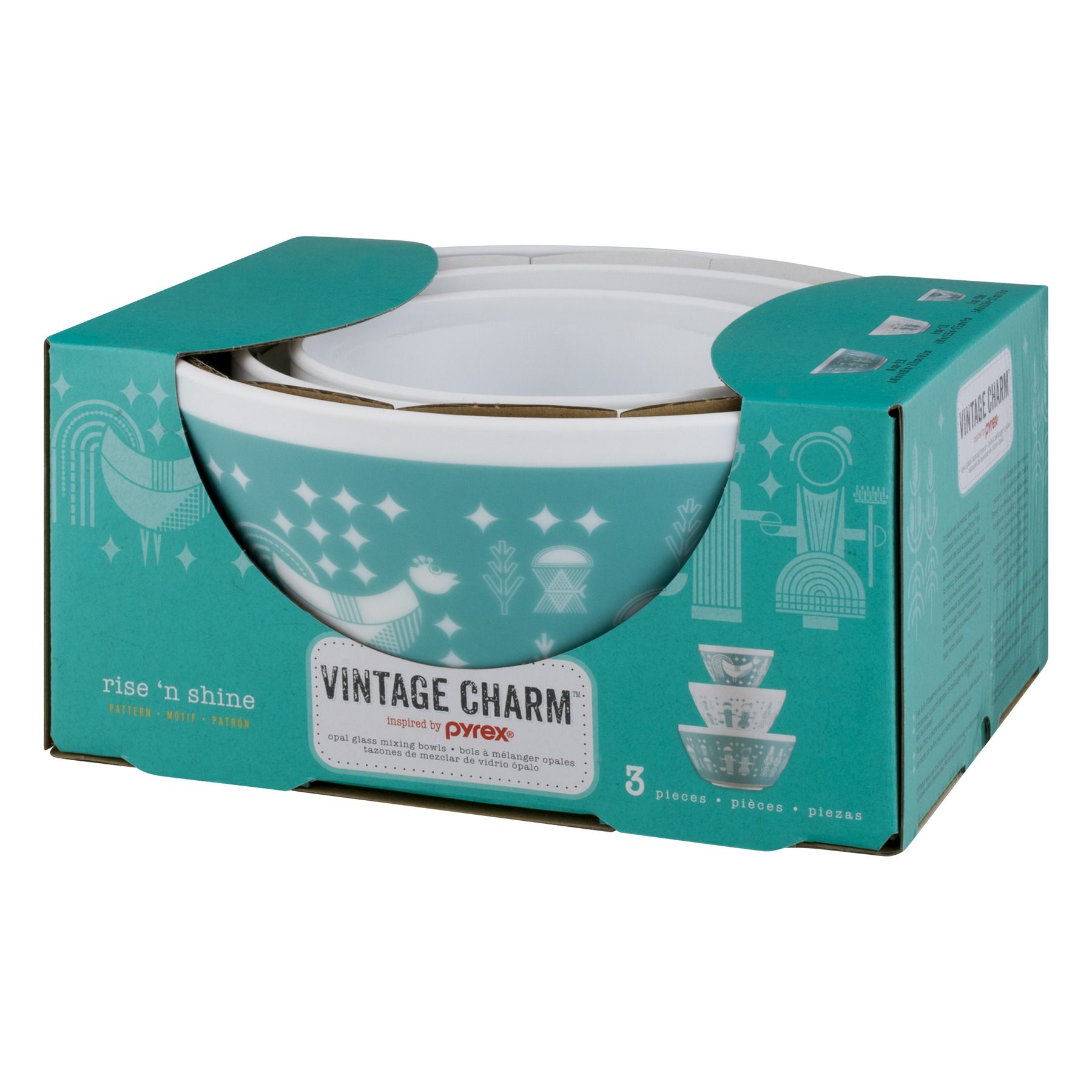 Vintage Charm Inspired by Pyrex 3-Piece Mixing Bowl Set - Walmart.com