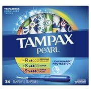 Tampax Pearl Tampons, TriplePack, Reg/Sup/Sup Plus, Unscented, 34 ct