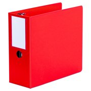 """Universal Deluxe Non-View D-Ring Binder with Label Holder, 3 Rings, 5"""" Capacity, 11 x 8.5, Red -UNV20716"""