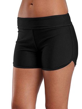 Charmo Swimsuit Bottoms for Women Tummy Control Swim Shorts Solid Boardshorts
